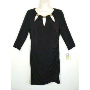 THALIA SODI Little Black Sheath Wrap Dress 2392E1M